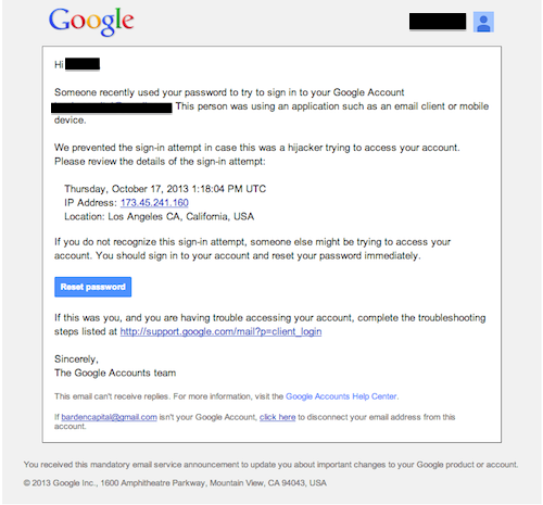 Gmail sign in prevented email